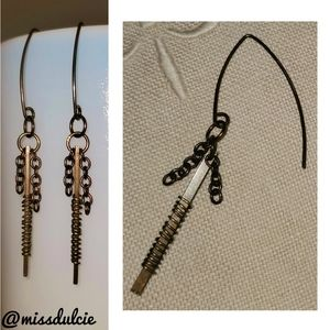 Antiqued Solid Brass Wire Wrapped Earrings Chains